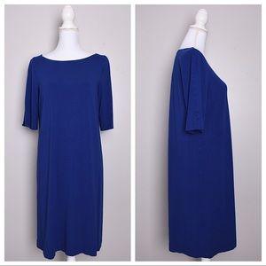 Eileen Fisher Blue Purple Tunic Jersey Shift Dress